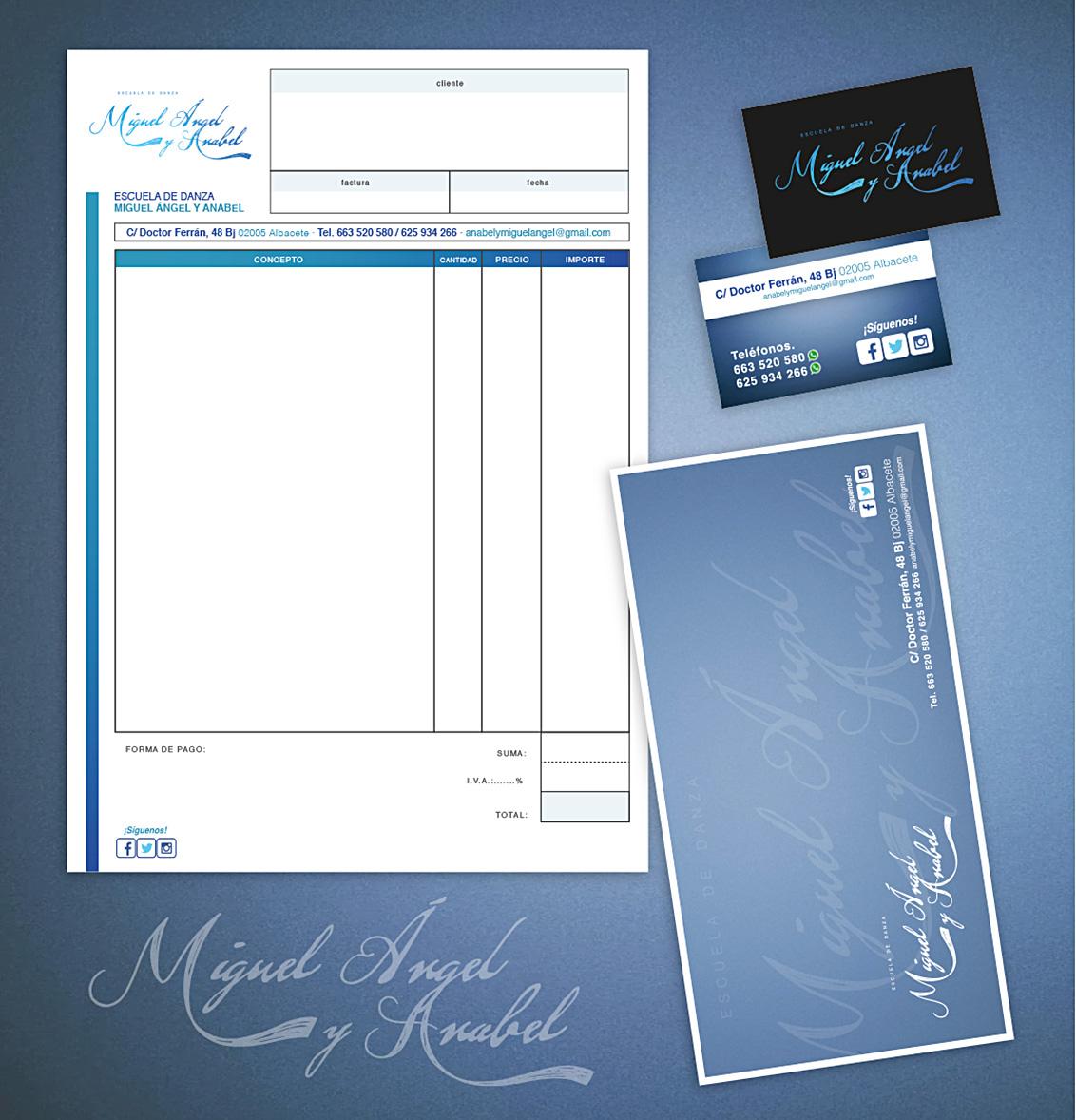 Diseño Gráfico, Branding, papelería corporativa para Miguel Ángel y Anabel