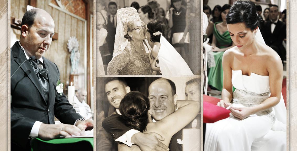 Reportaje Boda Juan Manuel y Noemí, collage fotografías boda ceremonia