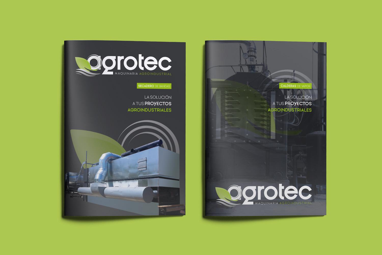 Diseño gráfico e impresión de catálogos de productos para Agrotec Maquinaria Agroindustrial