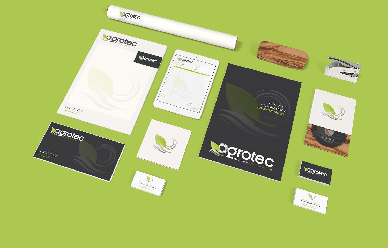 Diseño gráfico, branding, papelería comercial empresa para Agrotec Maquinaria Agroindustrial