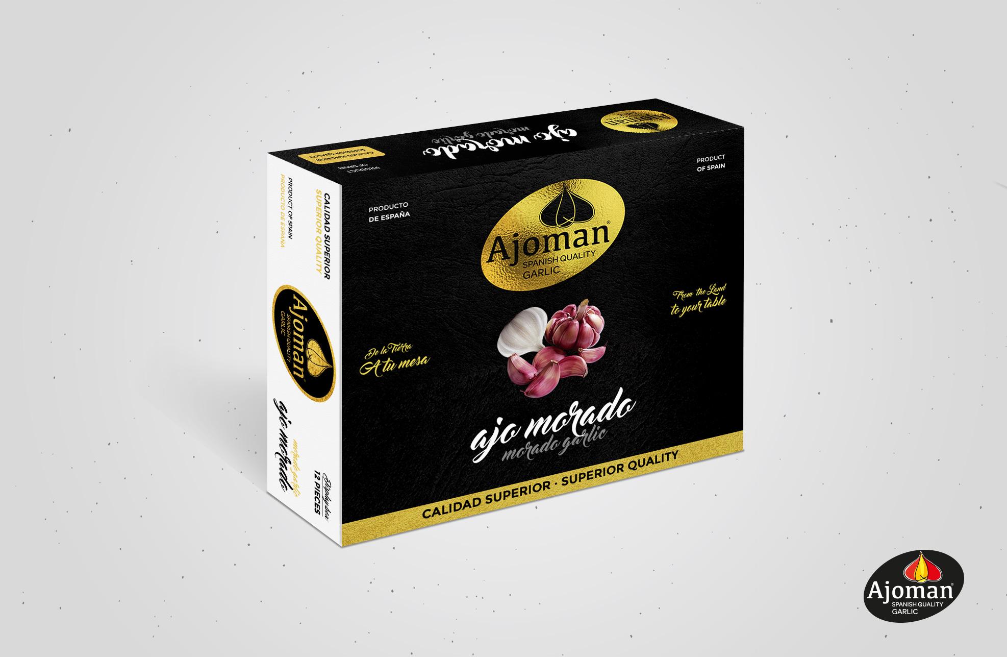Diseño de packaging Albacete, diseño de imagen corporativa Ajoman, restyling marca, branding, diseño de packaging Ajoman.