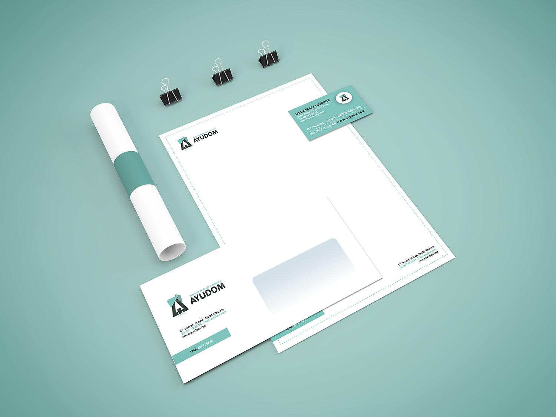 Diseño gráfico Albacete, diseño de imagen corporativa Ayudo, papelería comercial, diseño web Ayudom