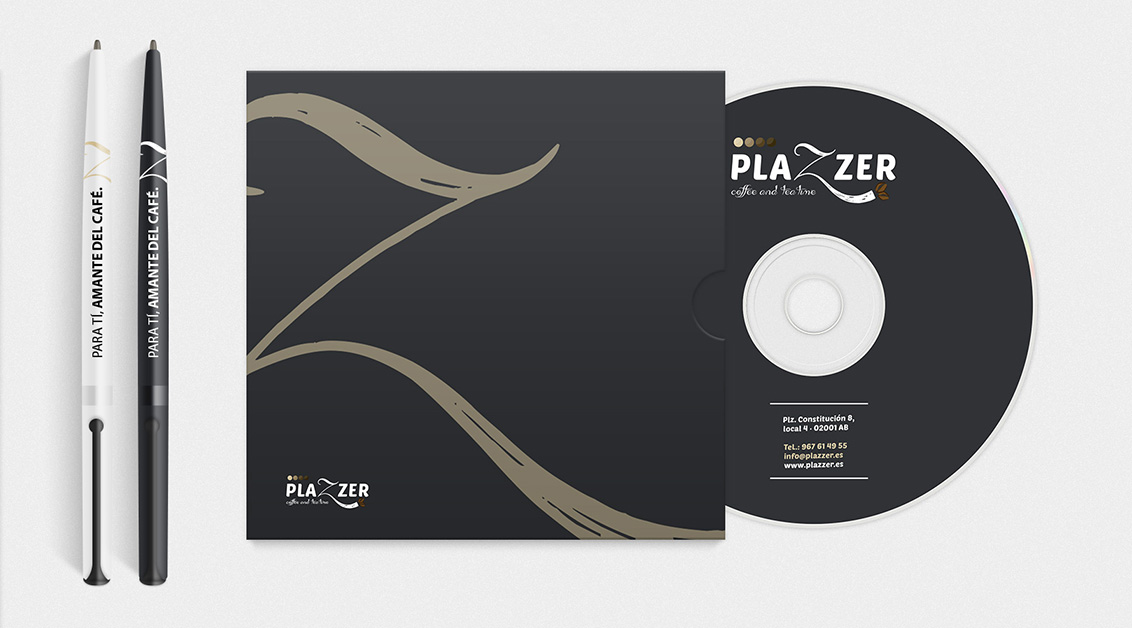 Branding, diseño grafico Albacete, merchandising de Plazzer coffe and tea
