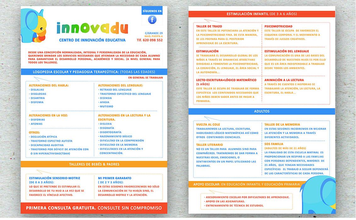 Diseño de flyer de servicios para Innovadu