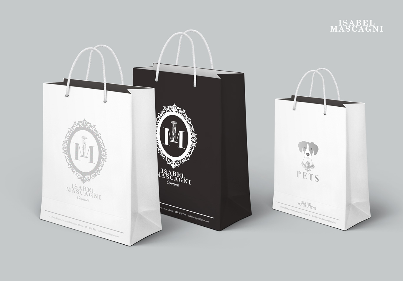 Diseño gráfico, diseño gráfico Albacete, diseño bolsa comercial, shopping bag Isabel Mascagni Couture