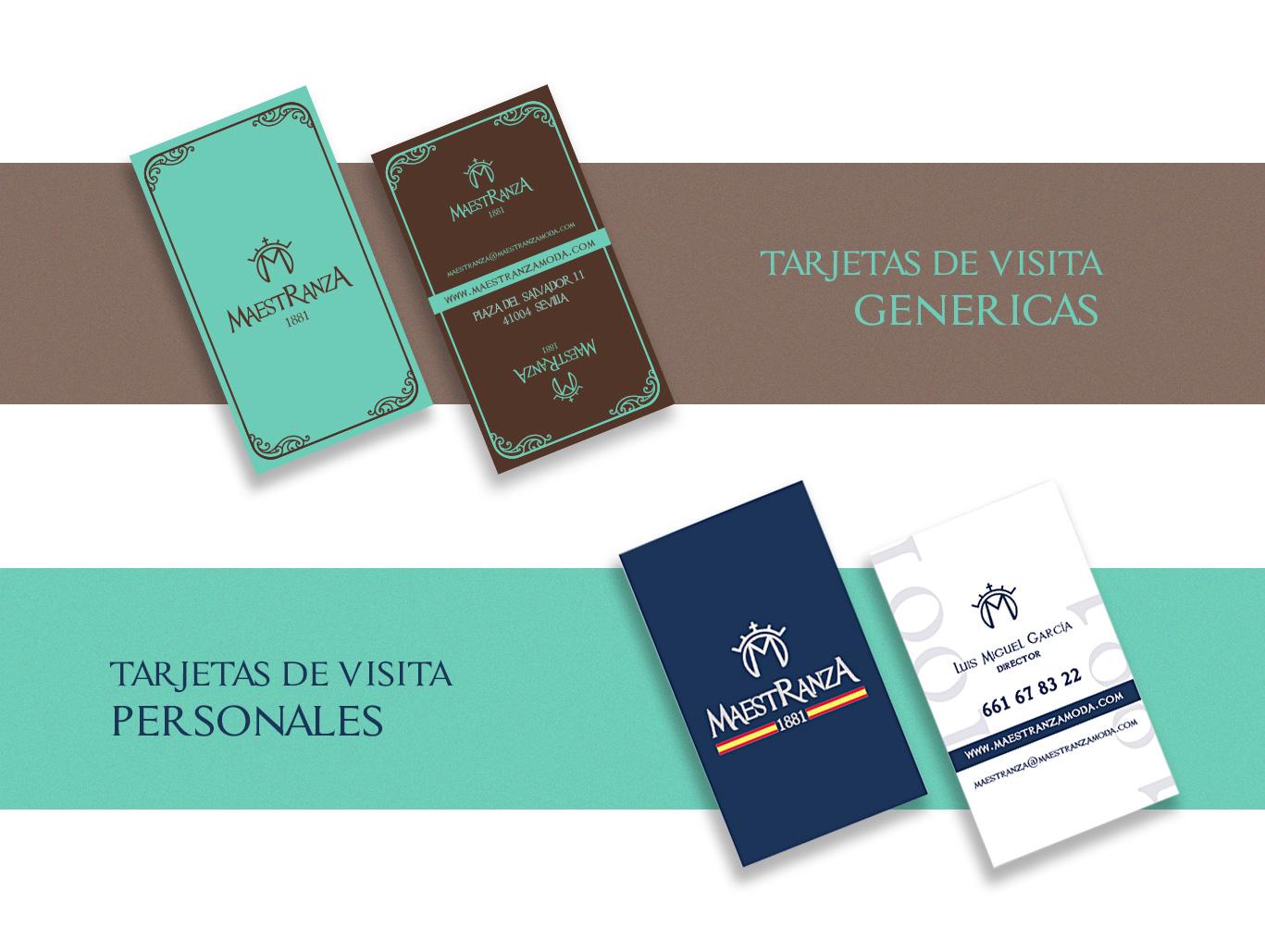 Diseño gráfico Albacete, diseño papelería corporativa, diseño de tarjetas de visita Maestranza Moda, impresión de tarjetas de visita, tarjetas de visita con stamping