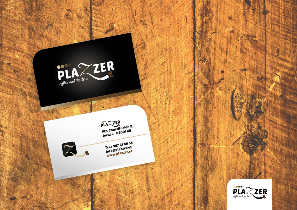 Diseño gráfico Albacete, diseño papelería corporativa, diseño de tarjetas de visita Plazzer coffee and tea, impresión de tarjetas de visita