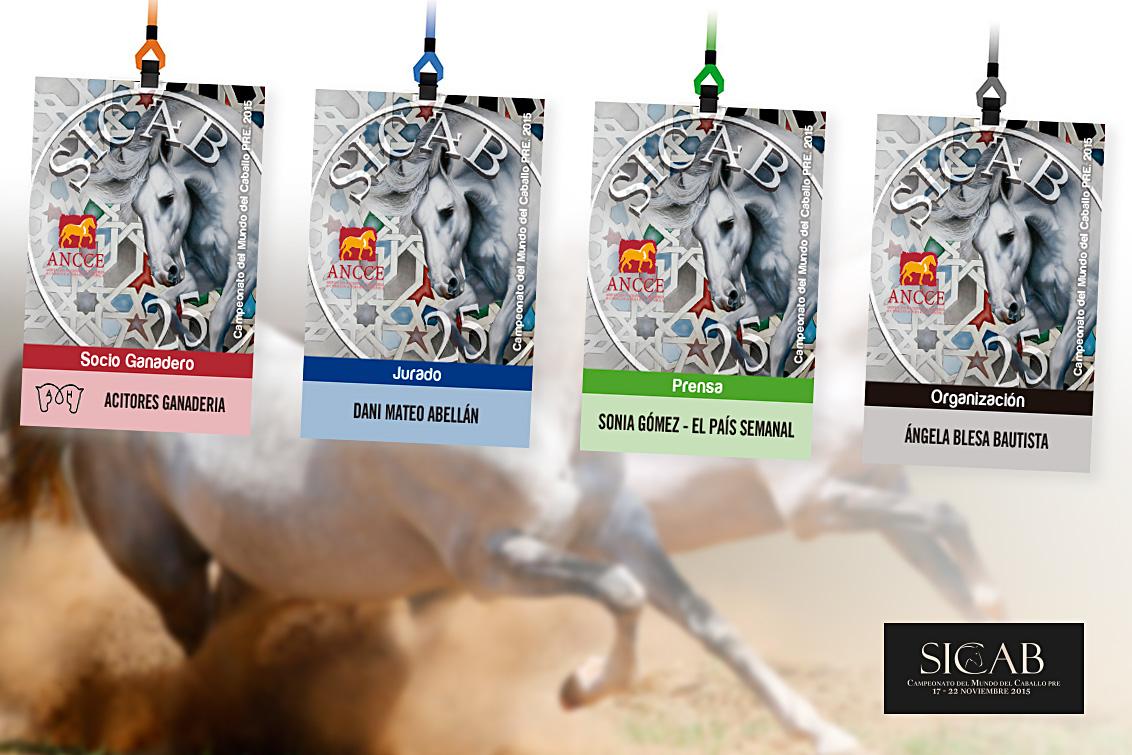 Diseño gráfico realizado en Albacete de las tarjetas identificativas socio ganadero ANCCE, diseño de los pases de prensa y diseño grafico de las tarjetas PVC del jurado de la feria del caballo SICAB 2015