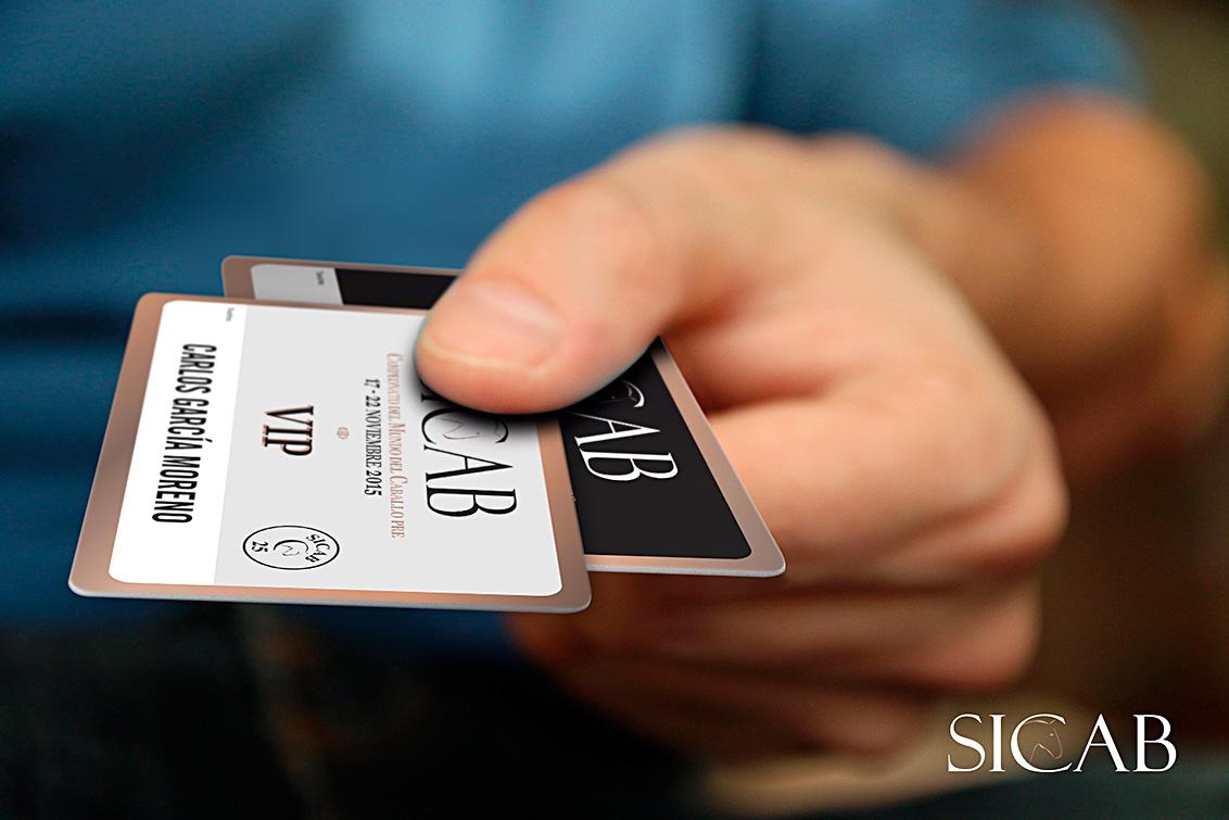 Fotografía publicitaria realizada en Albacete de las tarjetas PVC de la feria internacional del caballo SICAB 2015