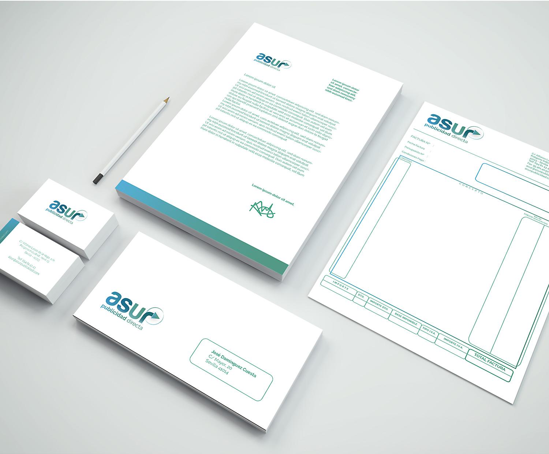 Diseño de papelería corporativa, branding Diseño gráfico Albacete, diseño de imagen corporativa Asur, restyling marca, branding Asur