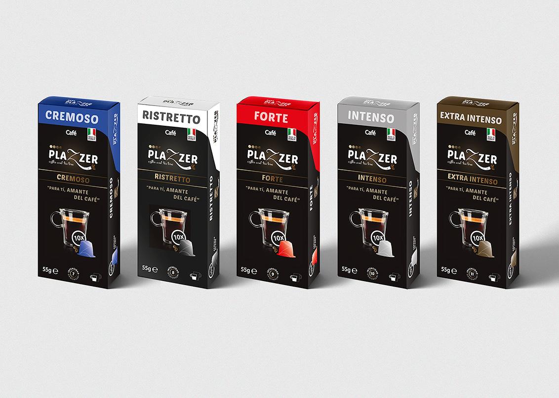 Packaging, Estudios de diseño gráfico, diseño grafico Albacete packaging de variedades de producto de Plazzer coffe and tea
