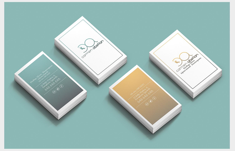Imagen corporativa, Diseño grafico Albacete, branding Albacete, impresión tarjetas visita, Carmen Abellán