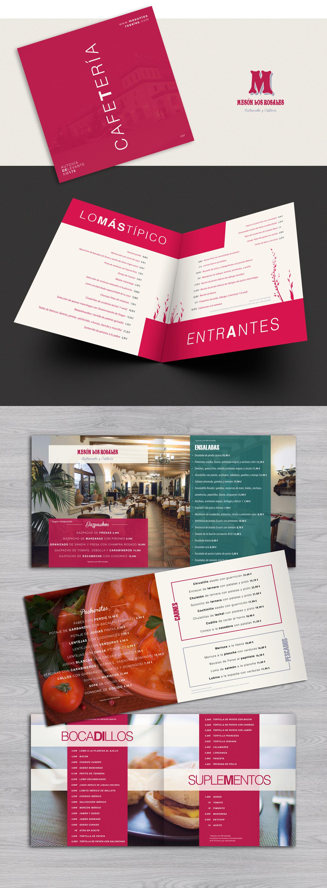 Diseño gráfico e impresión cartas cafetería Mesón Los Rosales