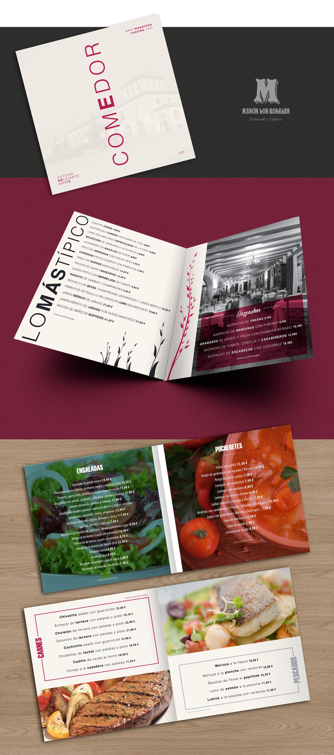 Diseño gráfico e impresión cartas comedor Mesón Los Rosales