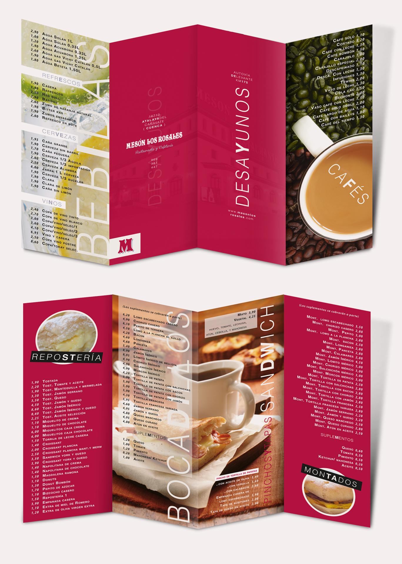 Diseño gráfico e impresión cartas desayunos Mesón Los Rosales