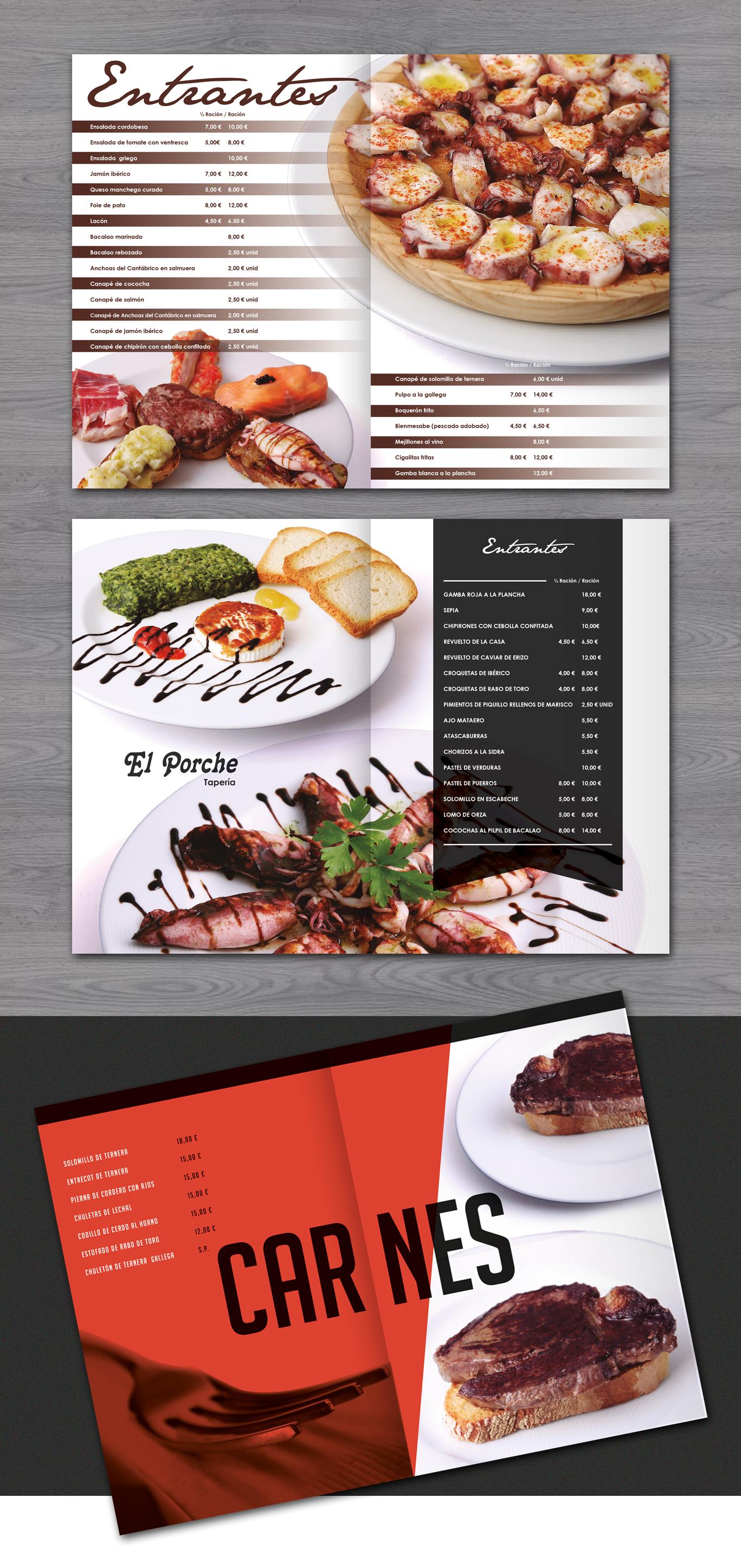 Diseño gáfico interior de carta para el restaurante El Porche