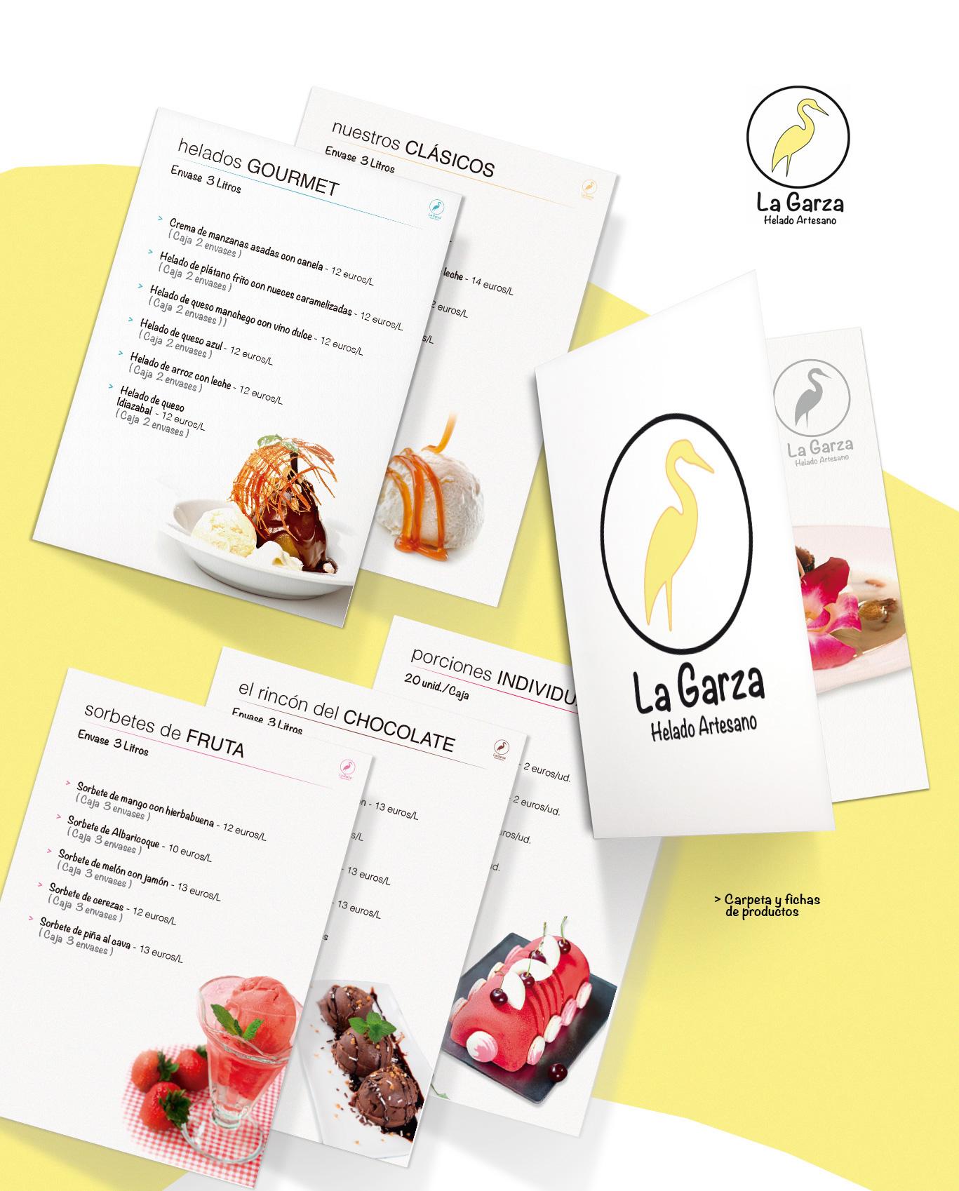 Diseño gráfico e impresión de carpeta y fichas producto para La Garza Helados Artesanos
