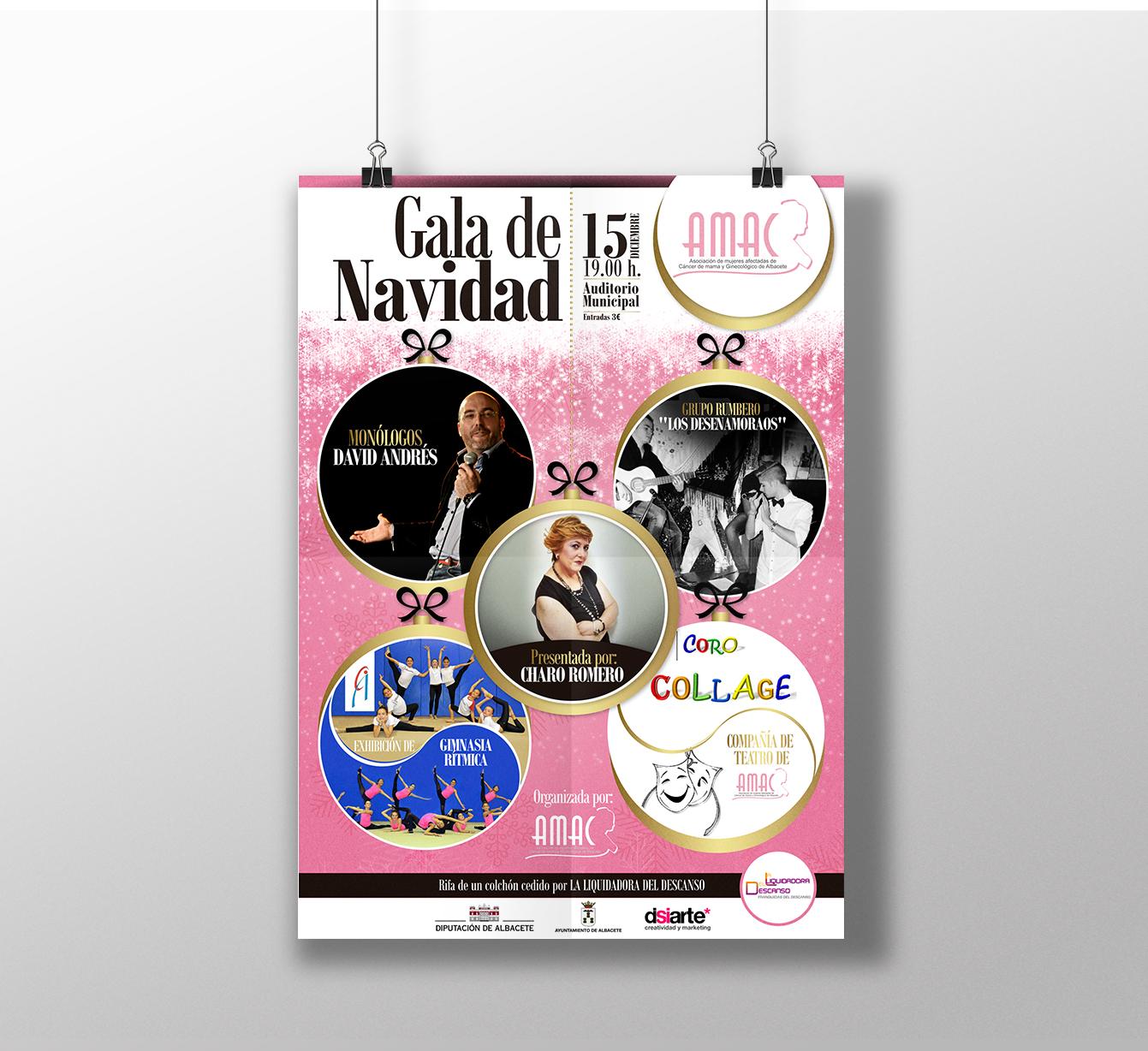 Diseño gráfico, diseño grafico Albacete, diseño de carteles y diseño de carteles gala de navidad AMAC