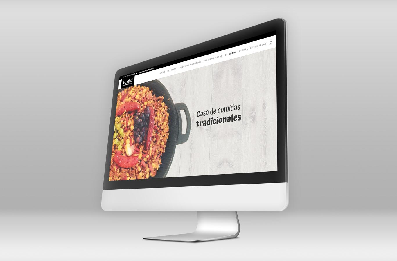 iseño web y programación de página web para Casa de comidas El Jaro