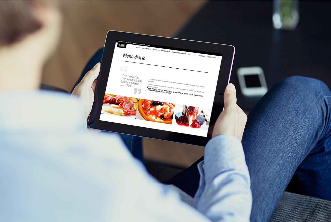 iseño web y programación de página web one page para Casa de comidas El Jaro
