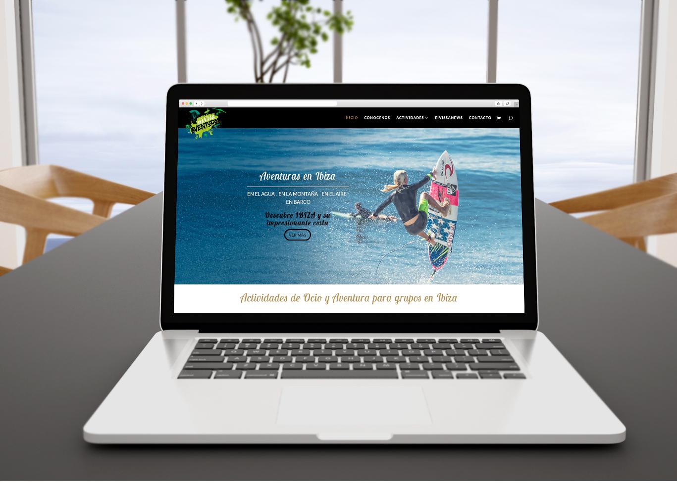Diseño web, diseño de tienda online, programación y posicionamiento página web Eivissa Aventura