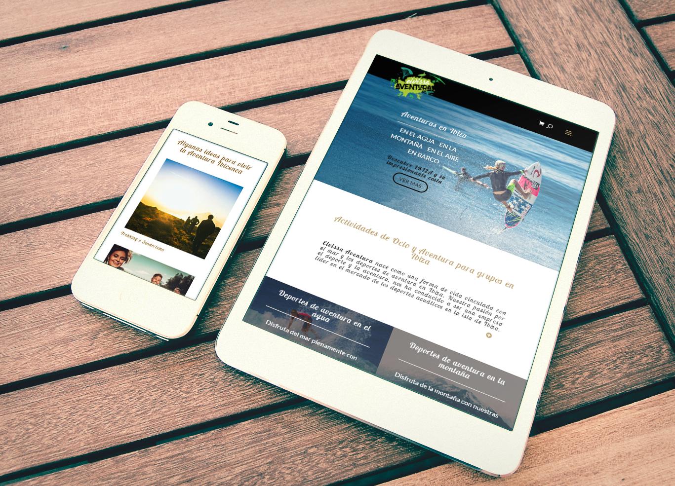 Diseño tienda online premium reponsive Albacete y posicionamiento web para empresa Eivissa Aventura