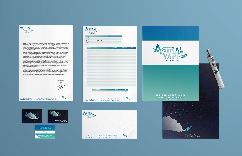 Diseño grafico Albacete, imprenta Albacete, branding papelería empresa Albacete Astralvape