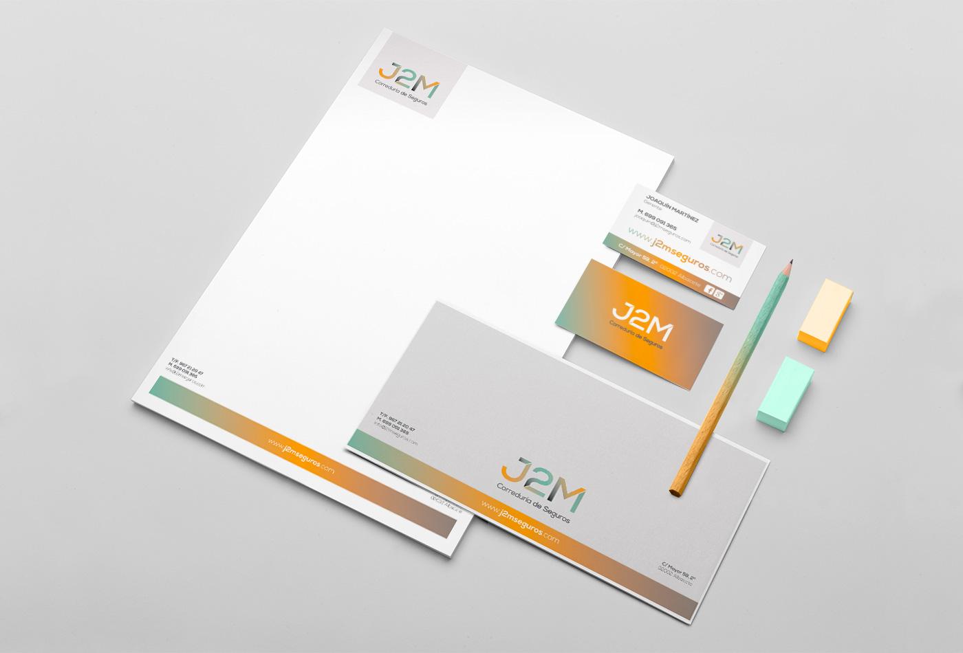 Papelería comercial empresa, Diseño grafico Albacete, branding Albacete, imprenta, J2M seguros