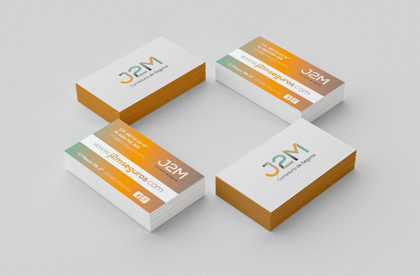 Papelería comercial empresa, Diseño grafico Albacete, branding Albacete, impresión tarjetas visita, J2M seguros