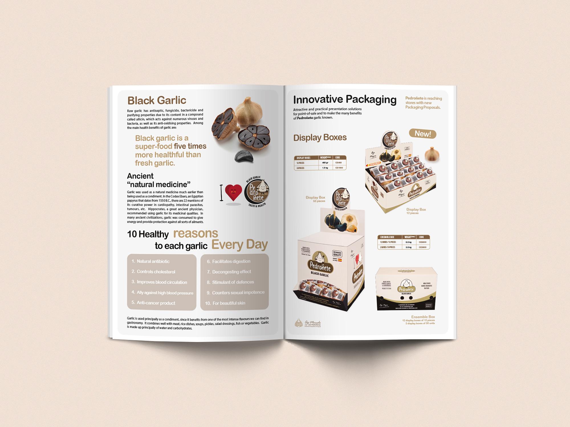 Diseño grafico Albacete, imprenta Albacete y fotografia publicitaria, diseño catalogo de productos ingles, ajo negro Pedroñete
