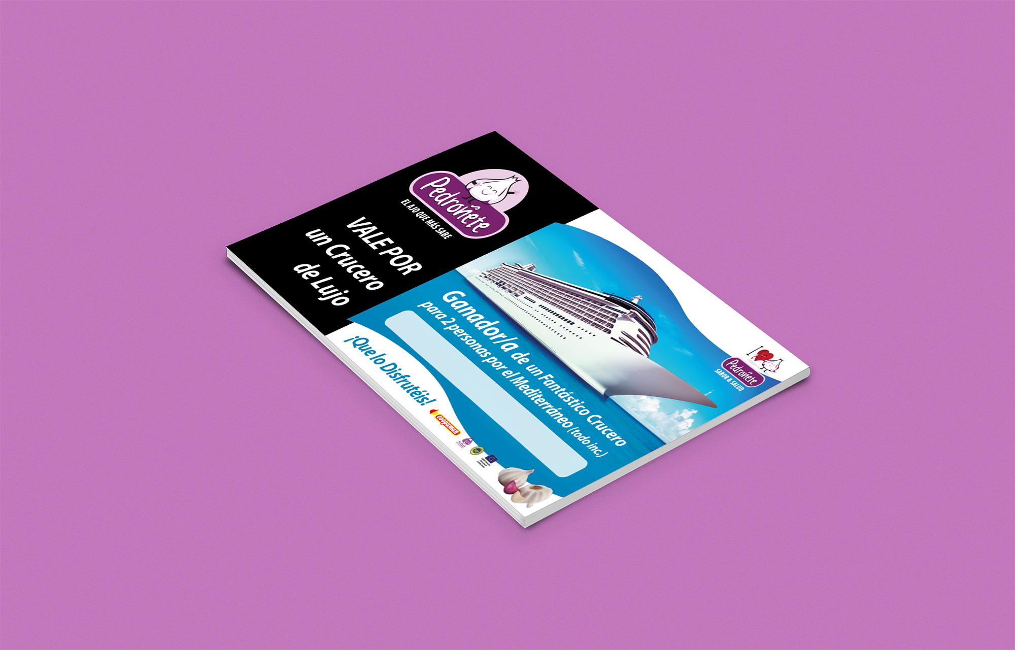 Diseño gráfico, imprenta Albacete y diseño cheque sorteo promociones Pedroñete