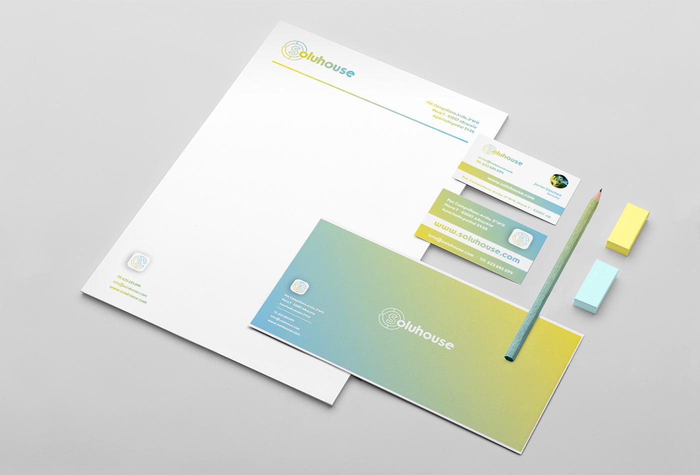 Papelería comercial empresa, Diseño grafico Albacete, branding Albacete, imprenta, SOLUHOUSE
