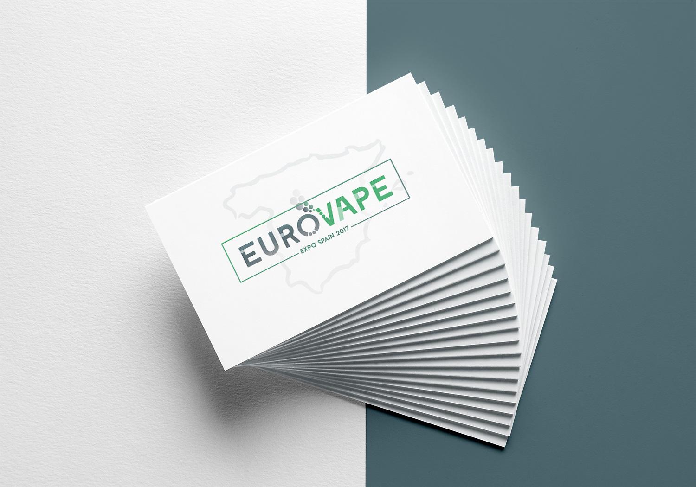 Diseño de logotipo Albacete, diseño de imagen corporativa Eurovape, diseño de tarjetas de visitas, branding Eurovape.