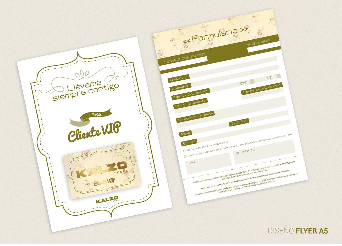 Diseño gráfico, diseño grafico Albacete, diseño de formulario, formularios para tarjetas pvc de zapaterías Kalzo