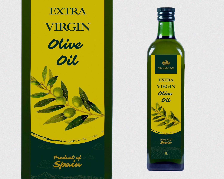 Diseño gráfico, Etiquetas, Packaging y Fotografía publicitaria Granadillos. Aceite Virgen Extra