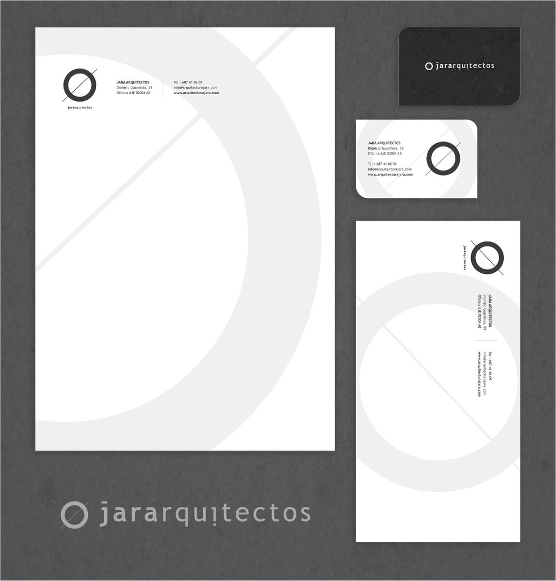 Diseño papelería corporativa Jara Arquitectos