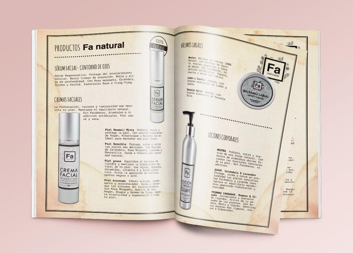 Diseño gráfico Albacete, diseño publicitario, diseño de catálogo para FA cosmética natural