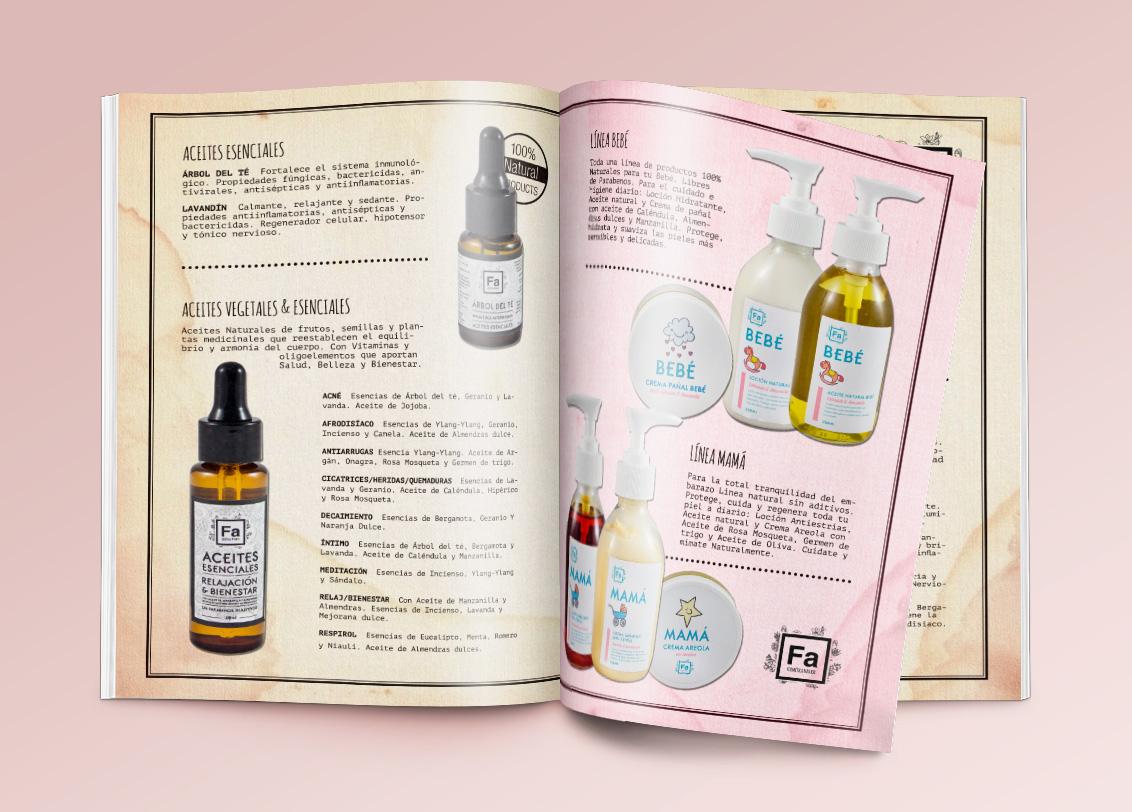 Diseño gráfico Albacete, diseño publicitario, diseño editorial, diseño de catálogo para FA cosmética natural