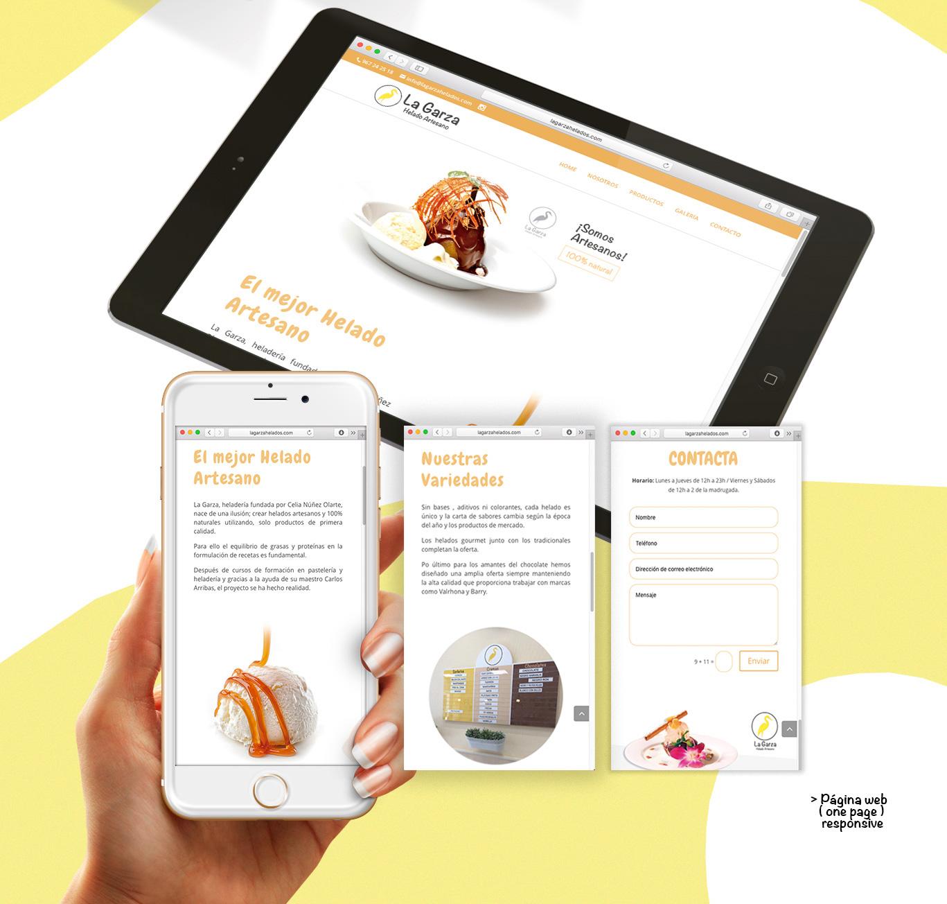 Diseño web Albacete, Seo y posicionamiento de página web para La Garza Helados Artesanos