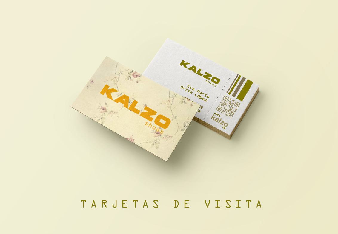 Diseño gráfico, diseño grafico Albacete, diseño de tarjetas de visita e imprenta de papelería comercial de zapaterias Kalzo