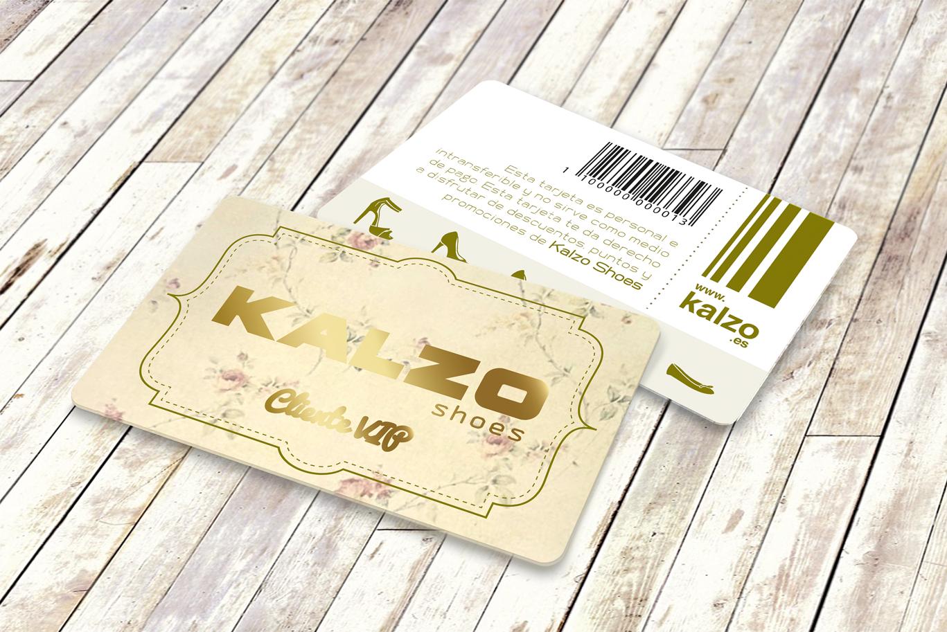 Diseño gráfico, diseño grafico Albacete e imprenta de tarjetas pvc de cliente vip de zapaterias Kalzo