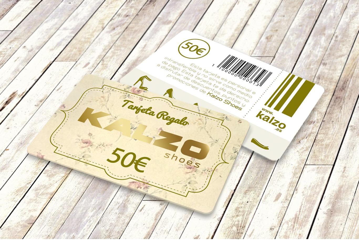 Diseño gráfico, diseño grafico Albacete e imprenta de tarjetas pvc de regalo de zapaterias Kalzo