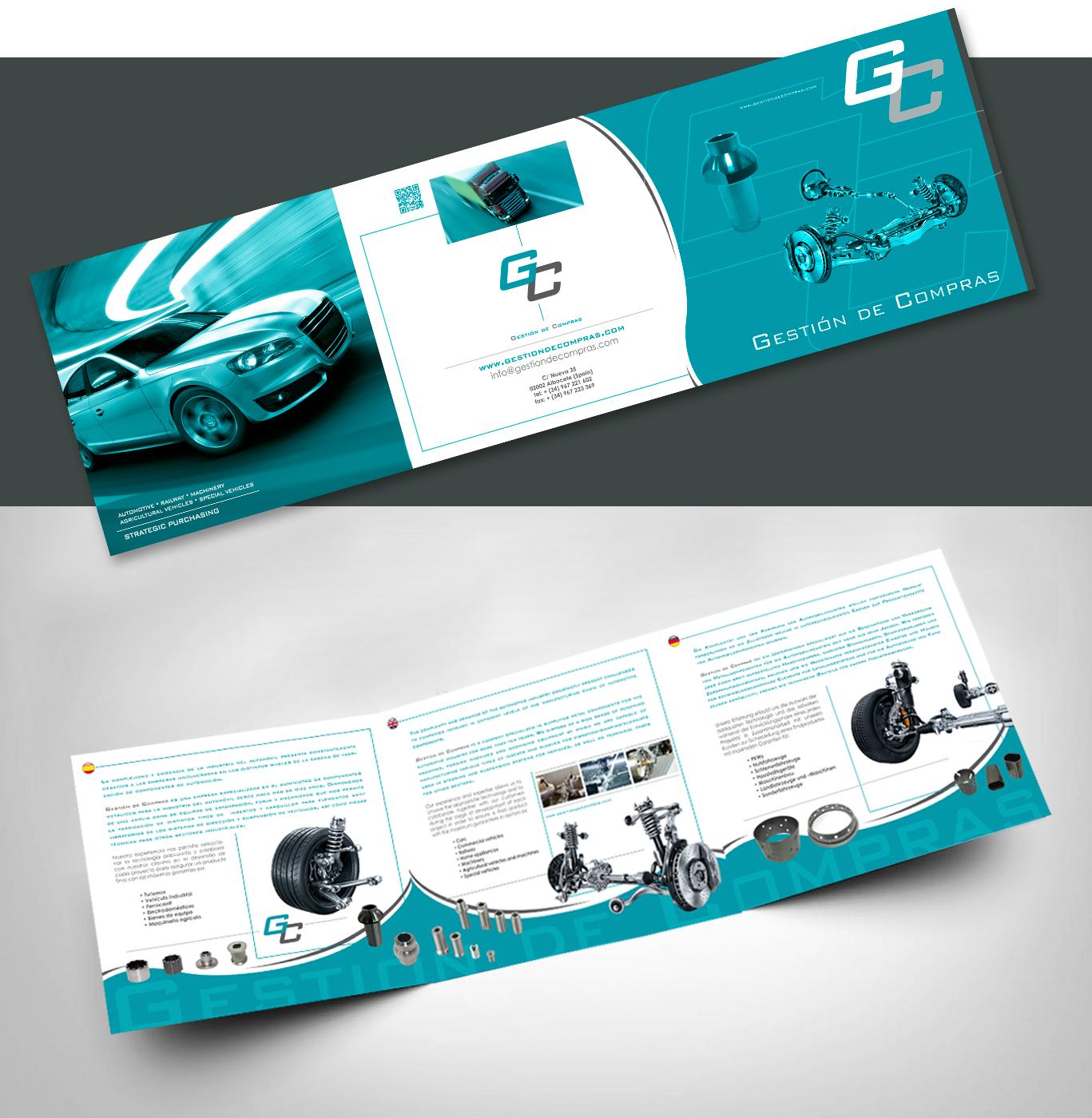 Diseño grafico, diseño triptico publicitario empresa Gestión de compras