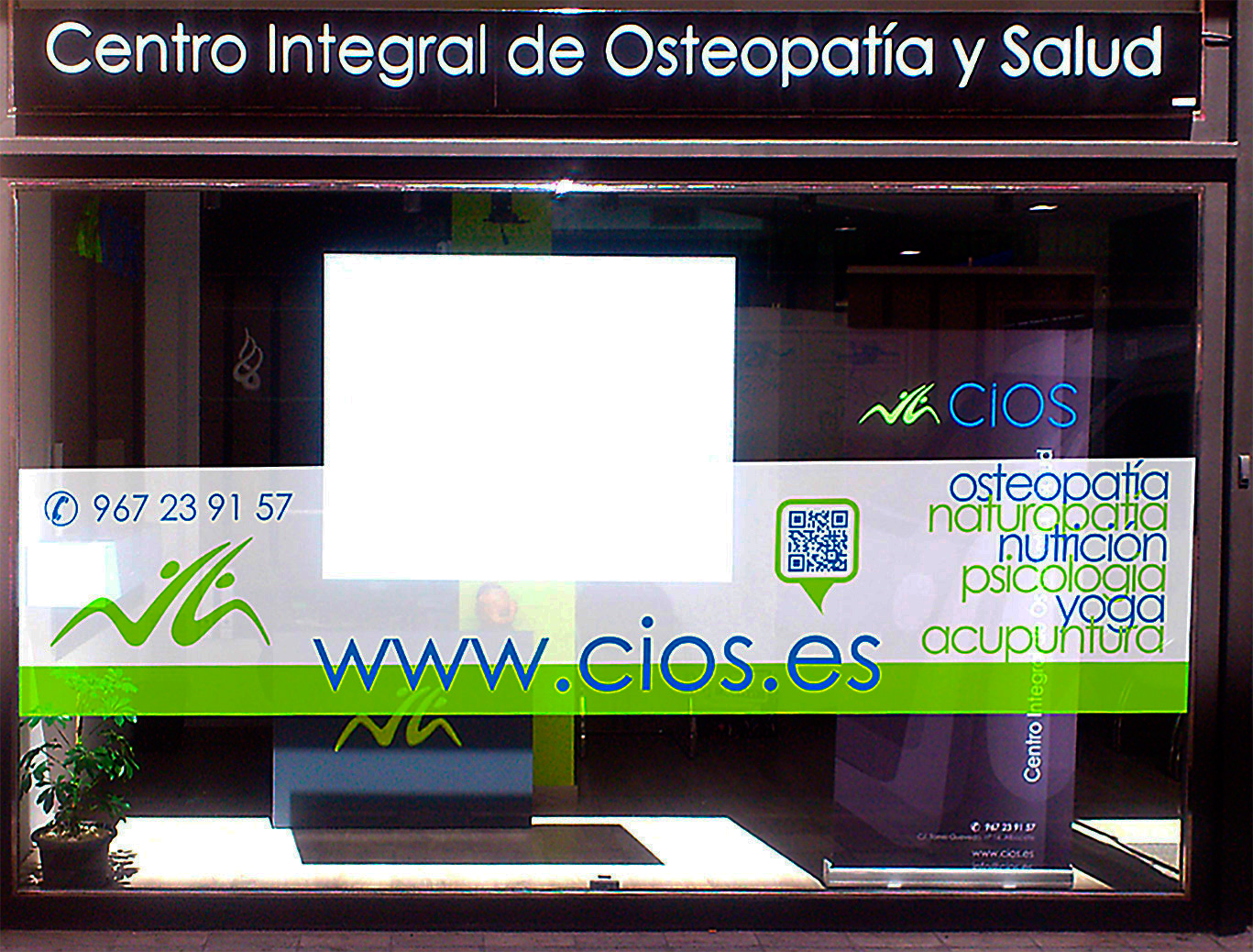 Diseño gráfico Albacete, Impresión vinilo, diseño de fachada Cios