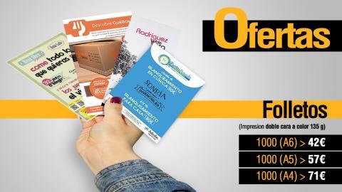 Oferta en impresión de folletos publicitarios e informativos.