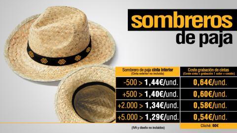 Oferta de sombreros de paja para regalo corporativo.