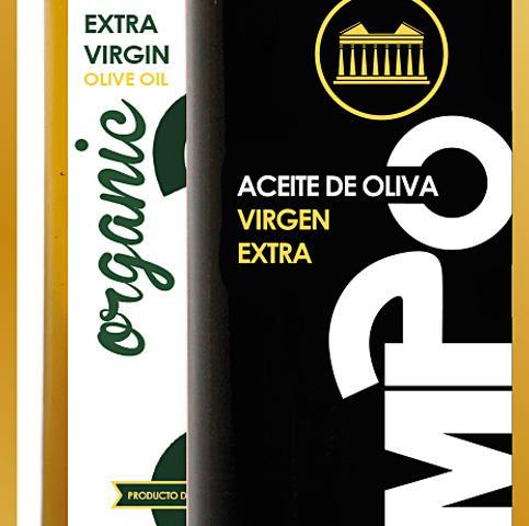 Diseño etiquetas para botellas de aceite, aceitunas y demás soportes.